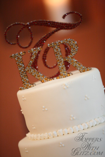 Crystal Monogram Cake Topper Color Tips