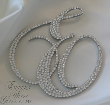 Monogram cake topper using Swarovski crystals Crystal and Cream Pearl