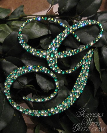 Cake jewelry using Emerald, Emerald AB and Erinte Swarovski crystals