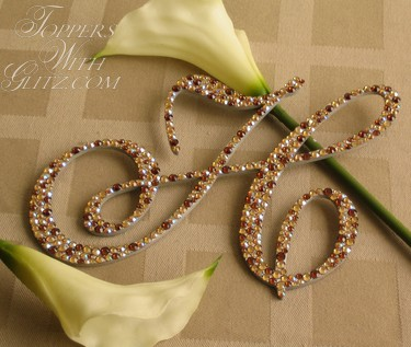 Monogram cake topper using Swarovski crystals