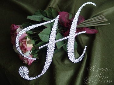 Monogram crystal cake topper using clear crystals