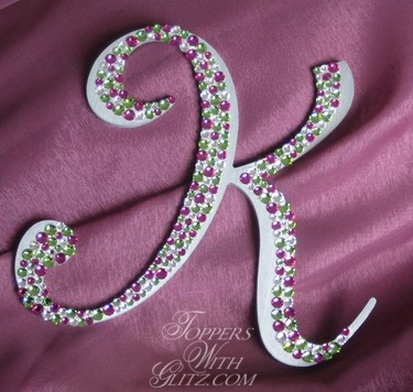 Monogram cake topper using Crystal, Fuschia and Peridot