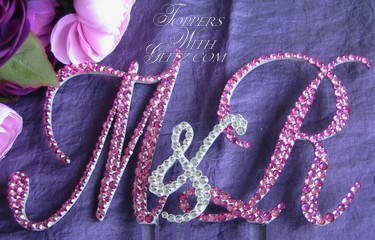 Monogram cake topper with Rose, Fuchsia and Crystal