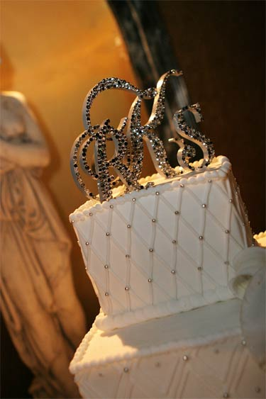Crystal monogram cake topper using Swarovski crystals Black Diamond, Silver, Crystl and Jet
