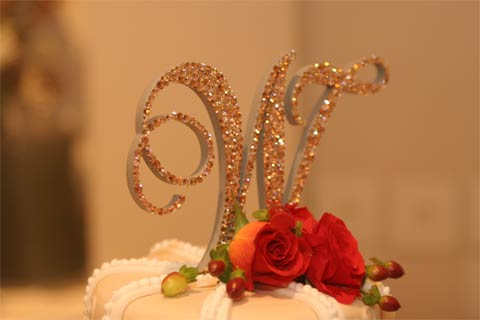 Monogram Wedding Cake Topper using Swarovski crystals Light Topaz, Silk, Gold Shadow and Peach
