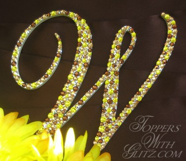 Single letter cake topper using Citrine, Light Topaz, Light Topaz AB and Smoked Topaz