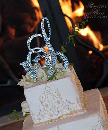 Monogram toppers wedding cake