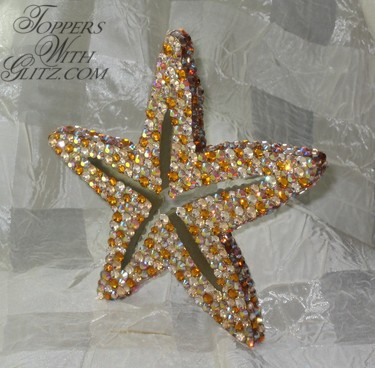 Custom crystal cake topper shaped like starfish