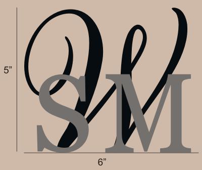 monogram cake topper size